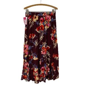 Xhilaration SZ S Skirt Wine Multicolored  Floral